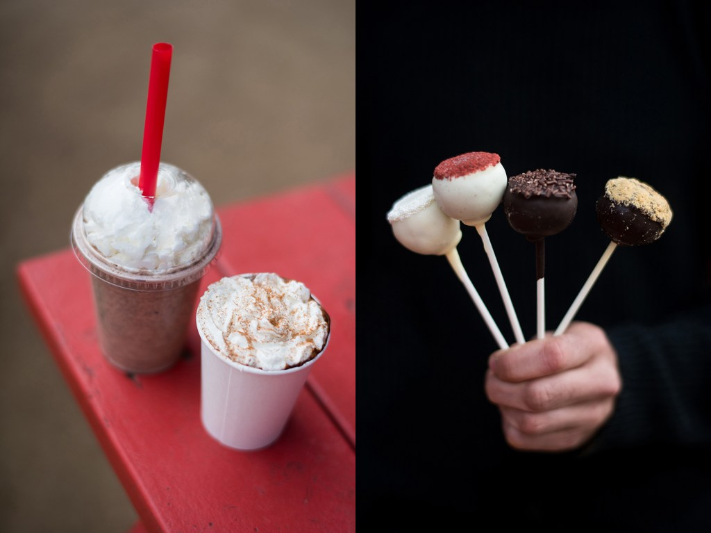 From left to right, The Holy Cacao's Cake Shake, Hot Chocolate, and Cake Balls.