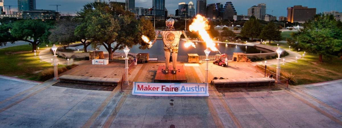 fire and robots at maker faire austin at the palmer events center