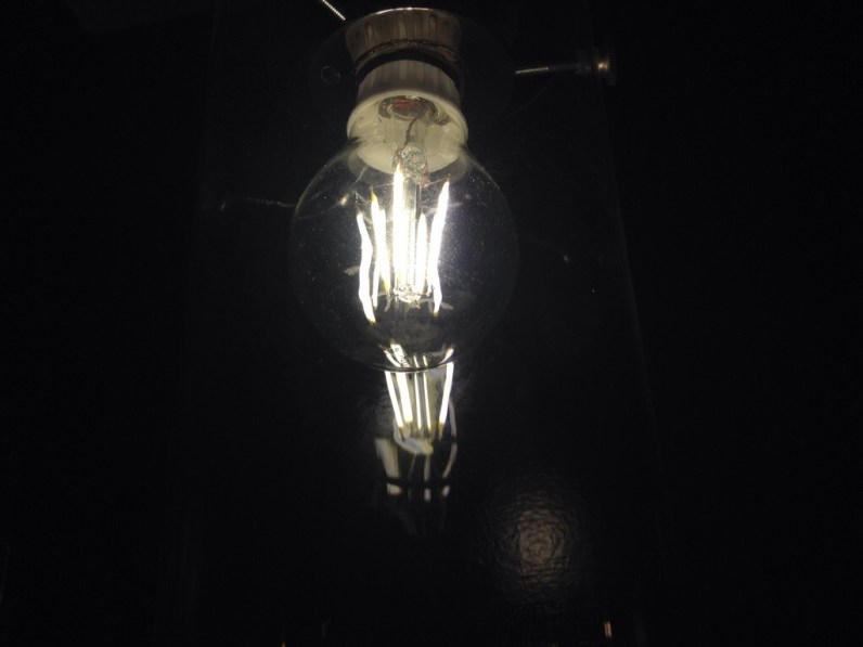 LED Filament Bulb plugged in