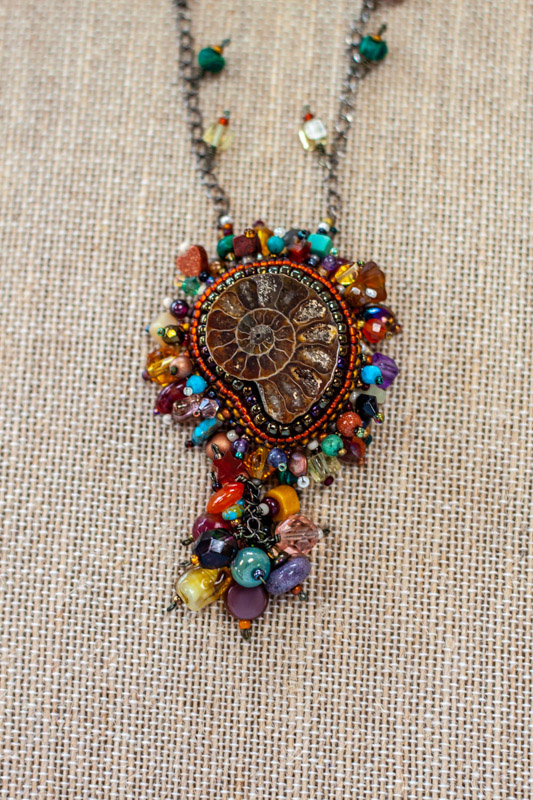 Cabochons for sale - Beaded Ammolite Necklace