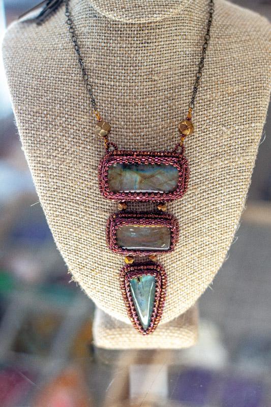 Pink Beaded Labradorite Necklace