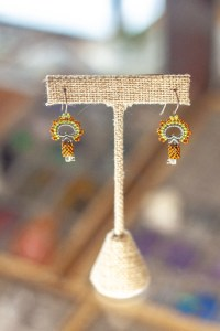 Beaded Orange Key Earrings