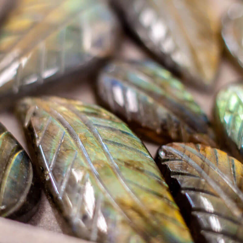 Carved Labradorite Leaves Semi precious stone Texas