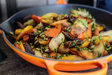 Roasted Carrots and Parsnips with Pepitas and Salsa Verde