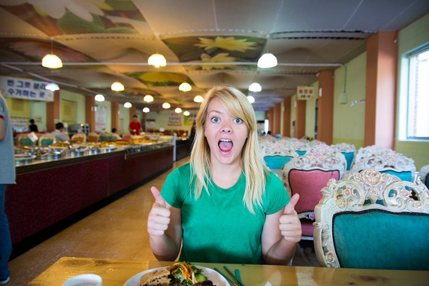 Nicole at the Buddhist Buffet, note the awesome chairs.