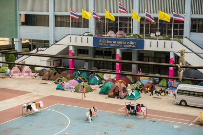 Protesters camping in central Bangkok