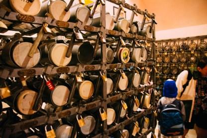Lockers for glass mugs at the Hofbrauhaus