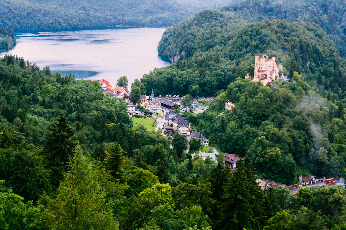 The town of Hohenschwangau and Hohenschwangau castle