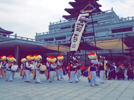 A parade through the Korean Folk Museum