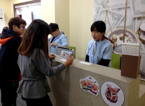 Students Role-playing in the Bank
