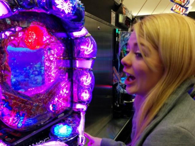 Nicole playing Pachinko after she felt better