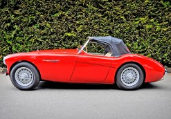 This 1955 Austin-Healey 100, series BN1, 226324, has been owned by Nigel and Jeanne Lamb of Kaleden, British Columbia, since 1964. It was used as a summer driver until 1982 when the car was stripped completely. Hidden damage was found and the car remained underwraps until 2004 when the restoration it deserved could be afforded. The restoration was completed in 2010 and debuted at the Vancouver (British Columbia) All British Field Meet where it was awarded first in class. Finished in Carmine Red with abone-colored interior, the carhas trophied each time out and attained a high Silver certification in concours judging at the 2011 Rendezvous in Squamish, British Columbia.