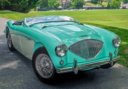 "This 1956 Austin-Healey 100M, ""Irene"", owned by Randy and Jeanne Hicks of Savannah, GA, is one of only 640 Donald Healey ""factory built"" 100M models and one of just 55 produced in Florida Green/Ivory. The Hicks' are members of the Low Country Austin-Healey Club, ""Irene"" achieved her God Concours certificate at the Homestead Conclave 2014 and Best in Show at Gettysburg Conclave 2015."