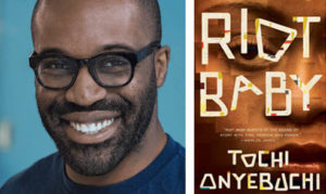 Photo of Tochi Onyebuchi with cover of his book 'Riot Baby'