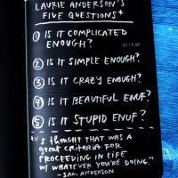 Laurie Anderson's 5 questions
