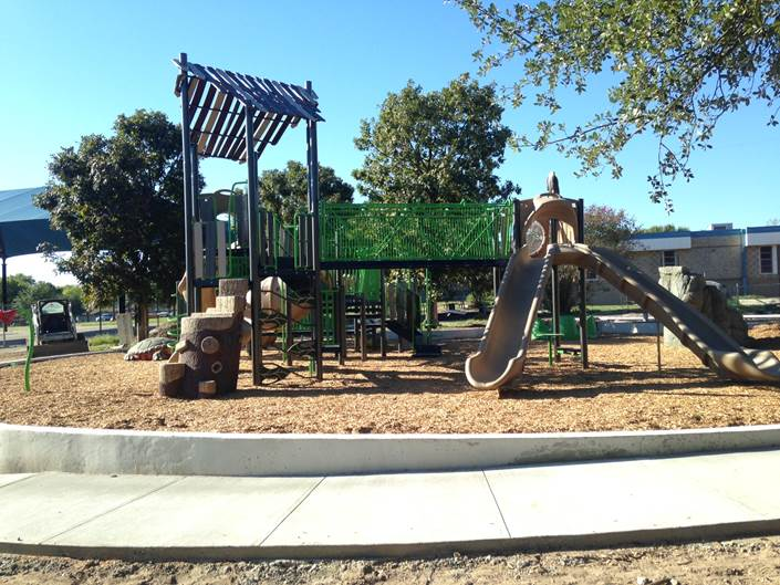 Full view of new Odom Park playscape
