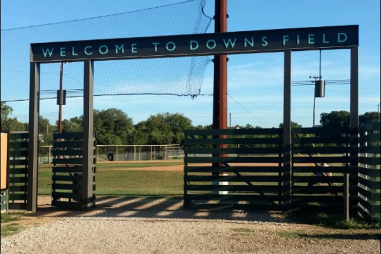Entry-way of Downs Field brought to you by Austin Parks Foundation
