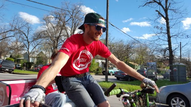 Budweiser provided coordinating shirts for the pedicab drivers to wear during the campaign. Every one looked sharp!