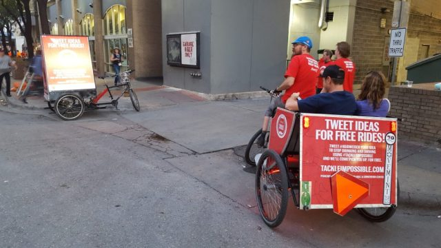 Free ride taking off from the pedicab station. SXSW 2016 Budweiser campaign.