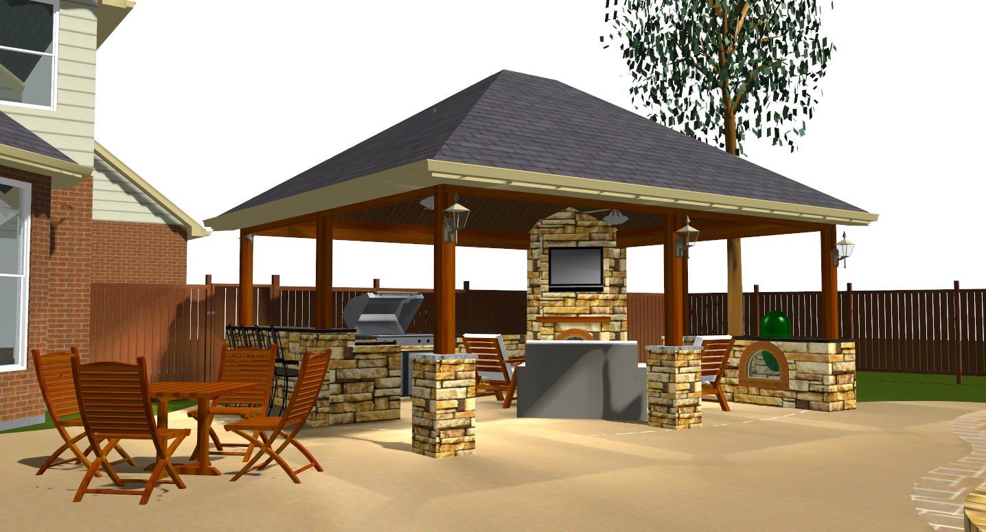 austin outdoor fireplace | Austin Decks, Pergolas, Covered ... on Covered Outdoor Kitchen With Fireplace id=90511