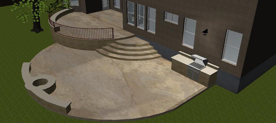 an austin two level concrete patio