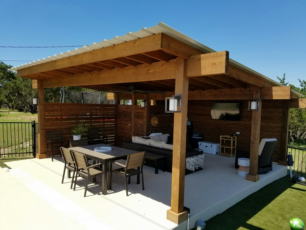 Bee Cave TX contemporary pergola   Austin Decks, Pergolas ... on Backyard Covered Patio Designs id=93119