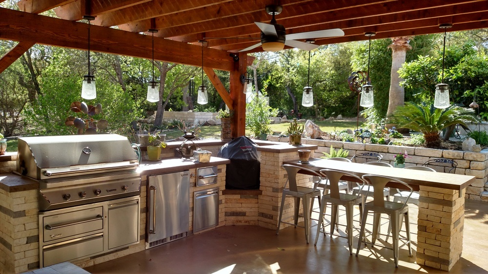 Austin outdoor bar | Austin Decks, Pergolas, Covered ... on Outdoor Kitchen Patio  id=13851