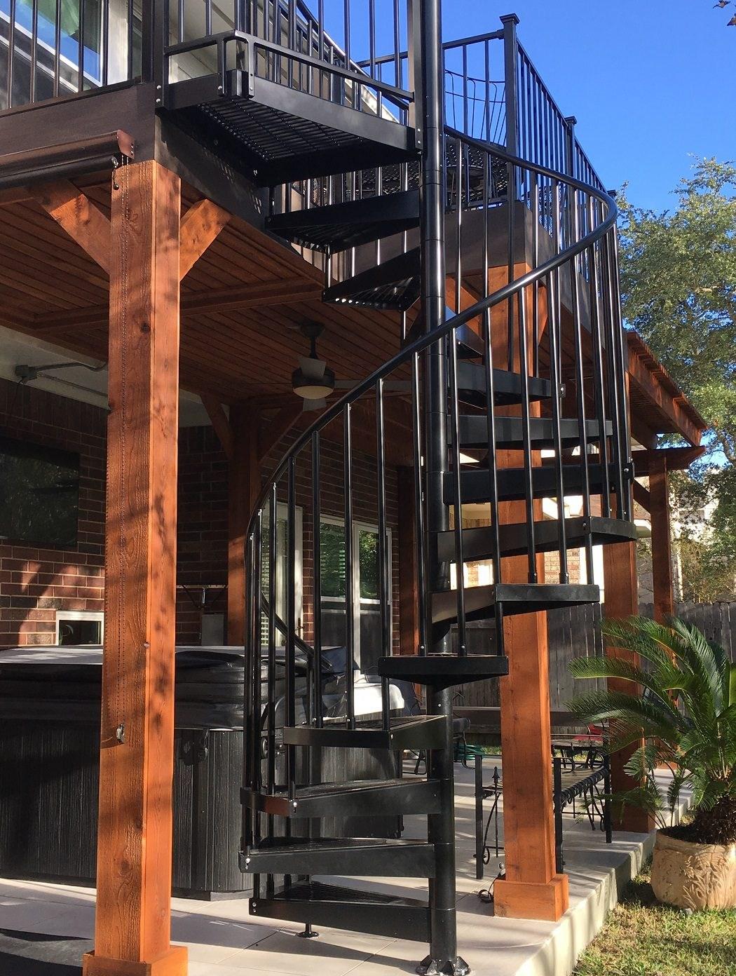 2 Story Decks Austin Decks Pergolas Covered Patios Porches More | Spiral Staircase For Outside Deck | Iron | Custom | Double Spiral | Railing | Portable Rectangular Concrete