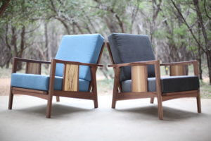Philip Morley lounge chairs blue and black austin school of furniture and design
