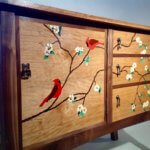 marquetry woodworking veneer robins tree and flowers wayne delyea