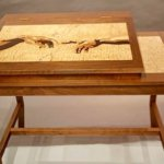hand of god and adam marquetry writing table by wayne delyea