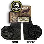 """Velcro Hook & Loop <br><p style=""""font-size: 11px;"""">Velcro Hook is sewn on the patch, then <br>apply a loop one on.</p>"""