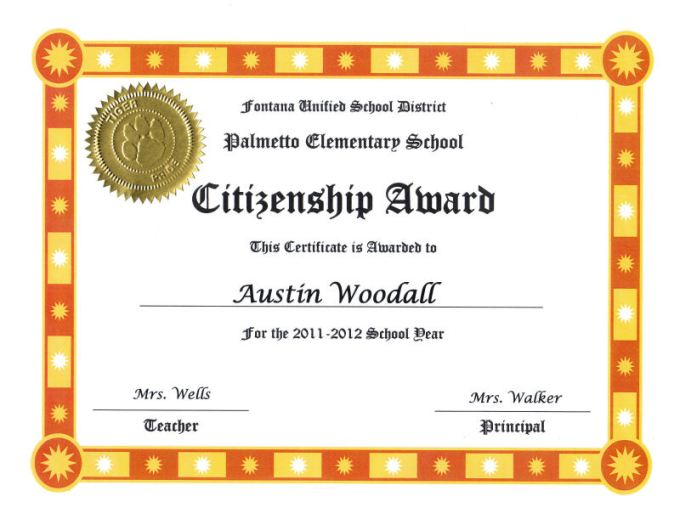 Letter Of Recommendation For Citizenship Award Textpoems