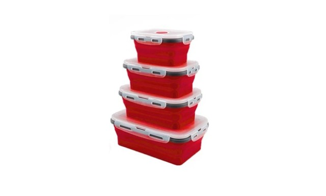 Set of Reusable Silicone Collapsible Food Storage Boxes in Choice of Colour: Set of Three ($19) or Set of Four ($28)
