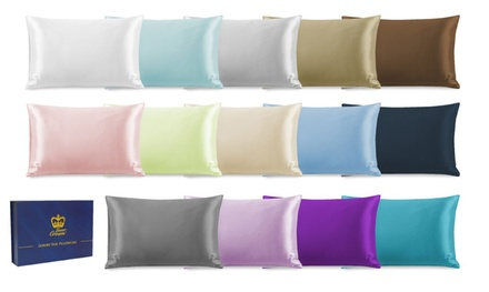 100% Pure Mulberry Silk Two Side Pillowcase in Choice of 20 Colours: One ($29) or Two ($49) (Don't Pay up to $458)