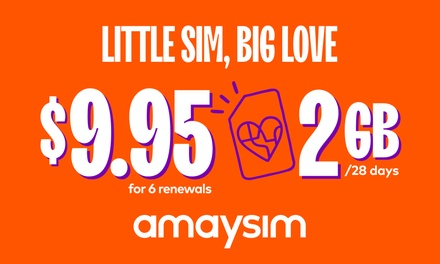 $9.95 for Six Renewals of amaysim Unlimited 2GB Mobile Plan with 28 Days Expiry (Up to $72 Value)