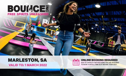 BOUNCE Inc: 2 Hr Mon Fri Superpass with Socks for 2 Ppl ($29), or Kids Multi Visit Pass ($99) at BOUNCE Inc, Marleston