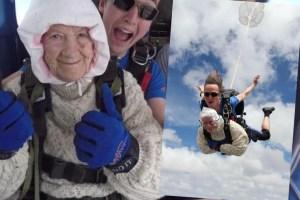 澳洲年紀最大跳傘員,102歲奶奶為募款跳傘