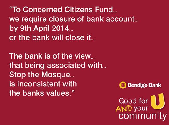 Bendigo Bank closes account