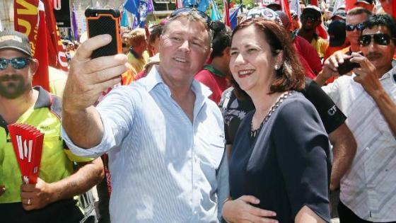 CFMEU David Hanna with Premier Annastacia Palaszczuk