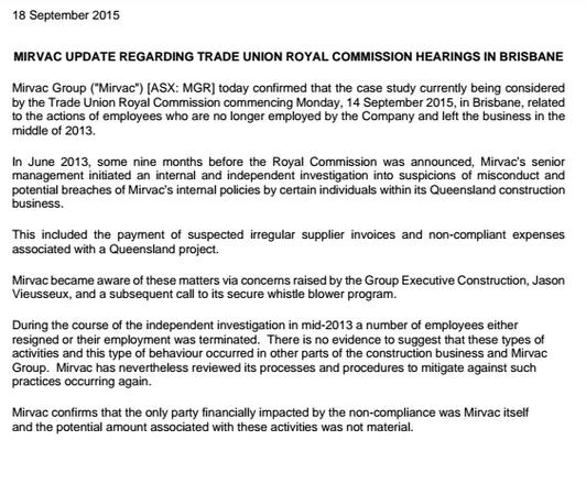 MIRVAC UPDATE REGARDING TRADE UNION ROYAL COMMISSION HEARINGS IN BRISBANE