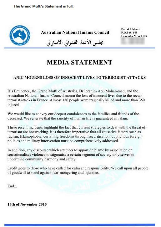 Grand Mufti of Australia statement on 2015 Paris attacks