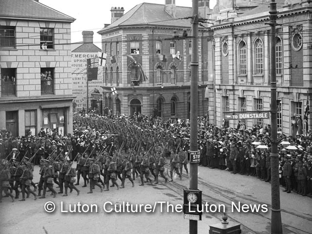5th Batallion Bedfordshire Regiment marches through Luton August 6th, 1914