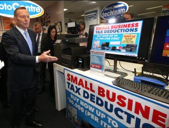 Liberal PM Tony Abbott promoting Harvey Norman