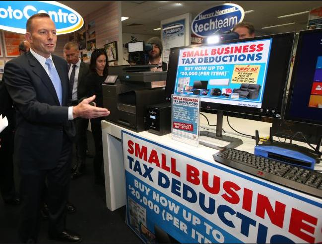 Liberal PM Tony Abbott promoting Harvey Norman