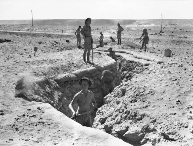 Australian 2-13th Infantry Battalion digging in at Tobruk 1941