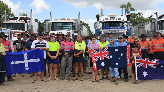 North Queensland truck drivers protesting the Road Safety Remuneration Order