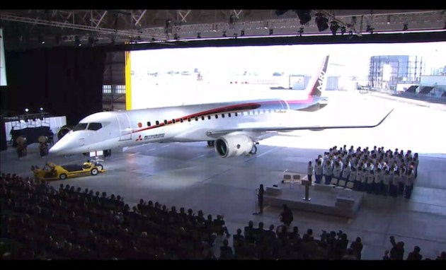 The MRJ at the official unveiling ceremony in Nagoya. (MHI)