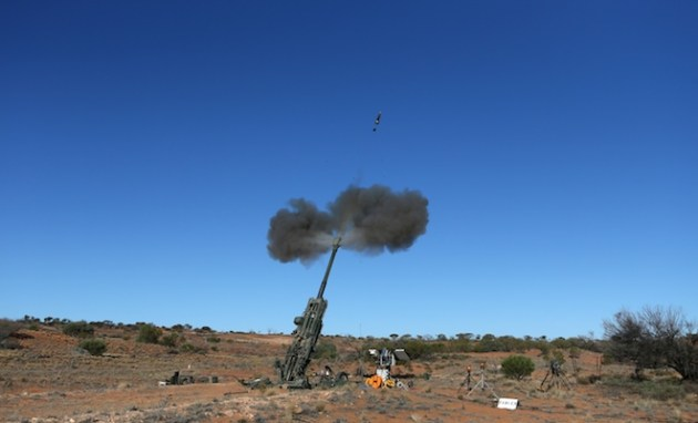 GPS-Guided Excalibur Munitions projectile test firing at the RAAF Woomera Test Range. (Defence)