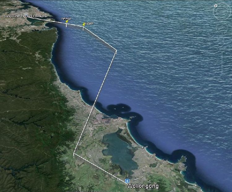 The expected flight path of the VH-OJA delivery flight. (Shellharbour City Council/Google Earth)